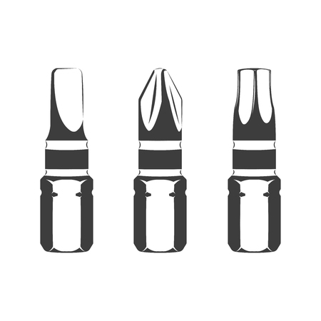 Bits for screwdriver isolated on the white background, monochrome style, vector Illustration