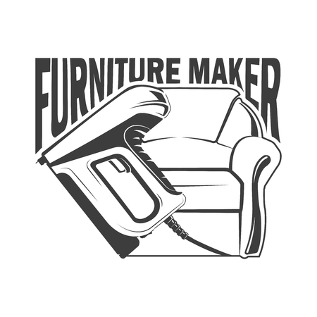 Furniture maker logotype and badge on white background, monochrome style, vector
