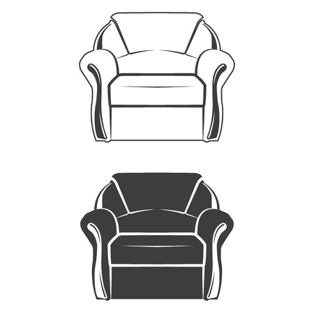 Set of two comfortable armchair, monochrome style, vector Illustration