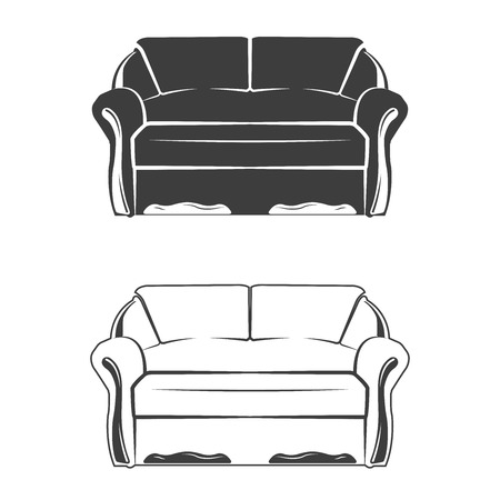 Set of two comfortable sofa, monochrome style, vector