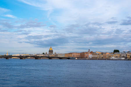 blagoveshchensky: Saint Petersburg riverside with views of Blagoveshchensky bridge and the dome of Saint Isaacs Cathedral Stock Photo
