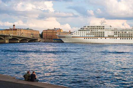 blagoveshchensky: SAINT PETERSBURG, RUSSIA - September 6, 2015 - Cruise ship MS Europa moored near Blagoveshchensky Bridge