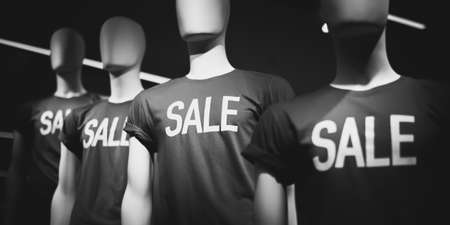 """Mannequins in T-shirts with the inscription """"sale"""". Black and white Stock Photo"""