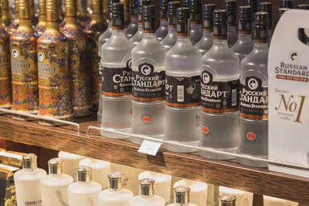 Istanbul, Turkey - April 25, 2018: one-liter bottles of vodka Russian Standard with a price tag