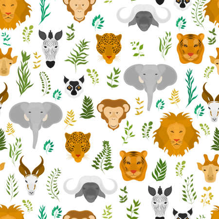 Vector seamless pattern with wild animals and plants on a dark background