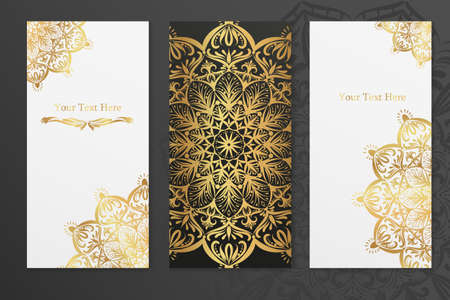 Three vector greeting cards with golden lace mandalas and with space for text Vecteurs