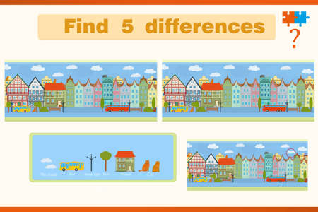Find the difference in a children's game with houses and cats on the street