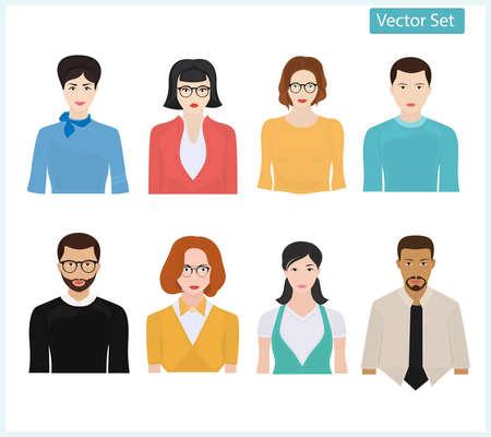Set of different people. Vector portrait of men and women.