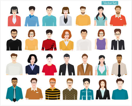 Set of different people on a light background. People of different professions and ages. Ilustração Vetorial