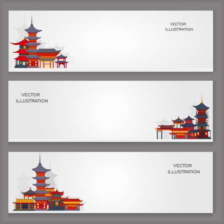 Three vector banners with Chinese traditional buildings and temples on a gray background.