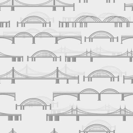 Seamless vector pattern with different bridges on a light background Illustration