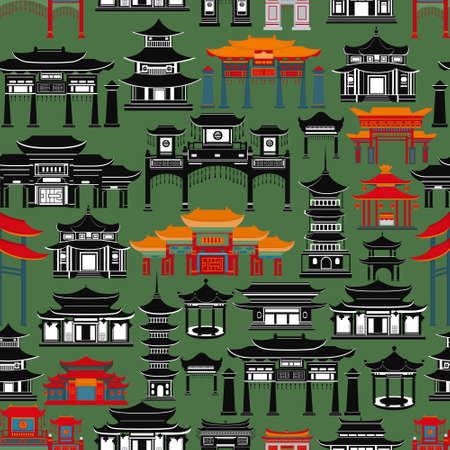 Seamless vector pattern with Chinese temples, gates and buildings on a dark green background 向量圖像