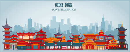 Vector greeting card with Chinese traditional buildings and gates on a blue background.