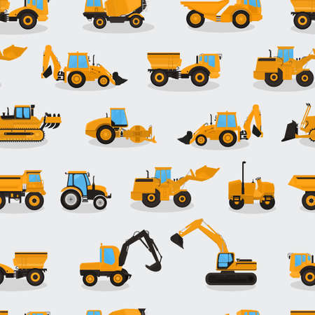 Seamless vector pattern with work machines and equipment on a light background.