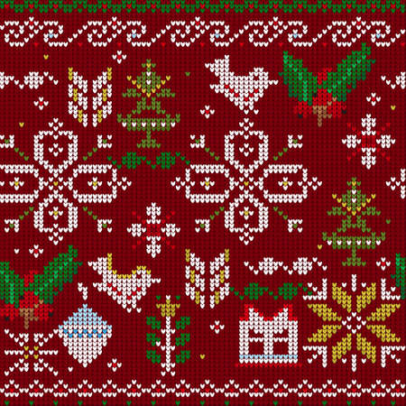 Seamless vector pattern with knitted berries, owl, snowflakes and other Christmas elements Illustration
