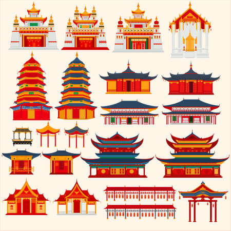 Set of Chinese temples, gates and traditional buildings on a light gray background