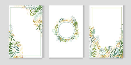 Vector postcard set. Plant leaves and twigs. Greeting cards with place for text.