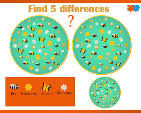 Find difference on a vector image with bees and flowers
