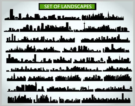 Set of cityscape silhouettes on a light gray background Vecteurs
