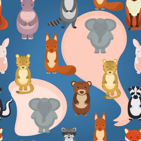 Seamless vector pattern with wild animals on a blue background