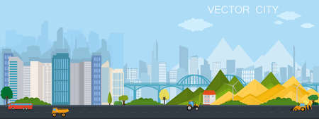 City view with bridge. Modern metropolis with mountains. Vector poster. Vettoriali