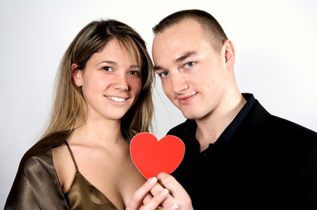 couple show heart on a white background Stock Photo