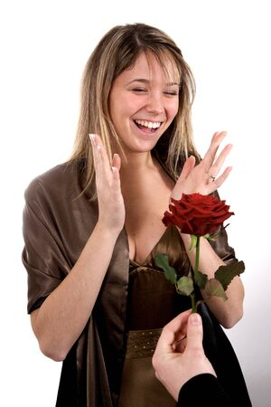 happy woman with expressive face and gift Stock Photo