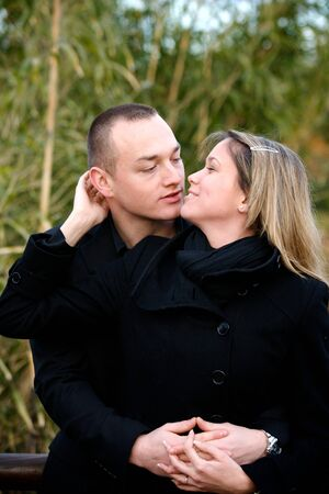 kissing couple in a park valentine day Stock Photo - 4284855