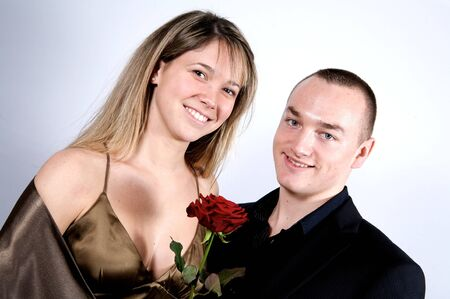 young couple at st valentines day with a rose