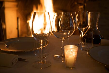 at restaurant warm ambience details glasses reflection