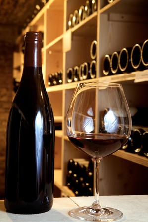 glass and wine in a old cellar