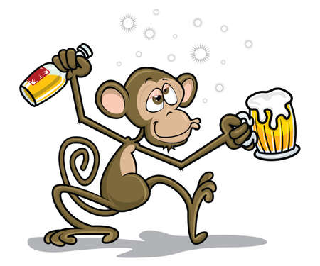 Drunk Monkey Vector