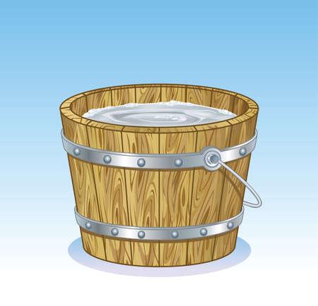 rural wooden bucket: Bucket Timber Illustration