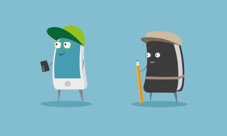 smart phone: Smart phone vs Diary Illustration Illustration