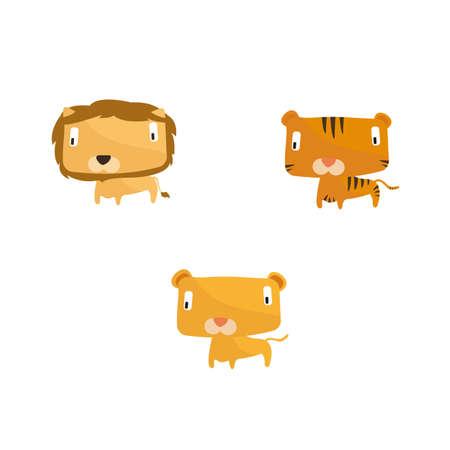 puma: Animal illustrations lion, tiger and puma