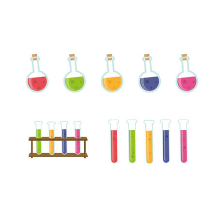 flasks: Chemistry equipment. Glass flasks with color fluids