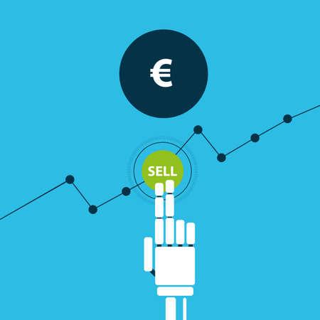 traders: Trading robot hand sells euro illustration