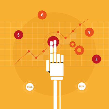robot hand: Trading robot hand illustration