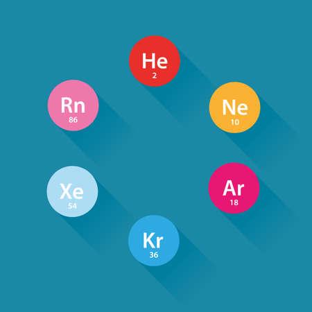 Noble gases flat icons Illustration