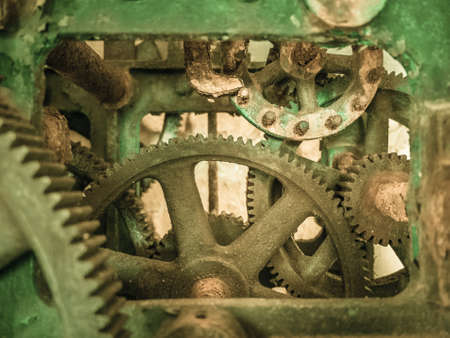 seized: The inner workings of a rusty old gear driven mechanism