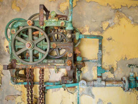 seized: Old corroded and rusty gear driven mechanism Stock Photo