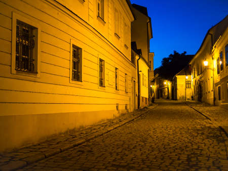 Night view of an empty cobbled lane in Bratislava, Slovakia