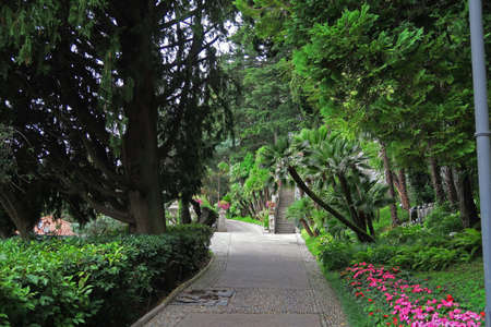botanical garden: Path of the beautiful botanical garden located in a villa in Varenna, on Como lake, Italy Stock Photo