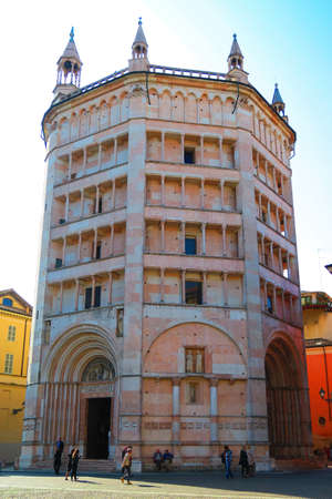 baptize: Wonderful view of the Baptistery of Parma, built in Romanic style and decorated by Benedetto Antelami. Magnificent monument built between 1196 and 1270.