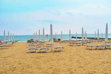 seas: View of empty beach in Jesolo,Italy, in a morning in rough seas