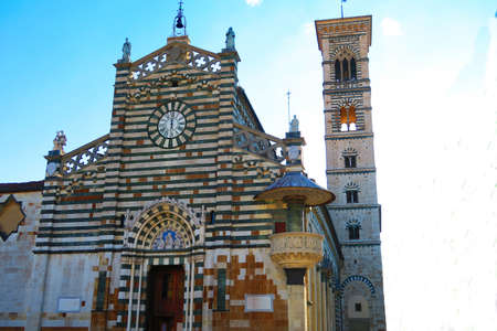 saint stephen cathedral: Prato,Italy,11 october 2015.Prato Cathedral is dedicated to Saint Stephen, the first Christian martyr. It is one of the most ancient churches in the city, and was already in existence in the 10th century. It was built in several successive stages in the R