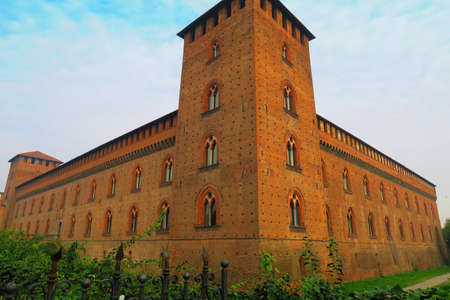 credited: Pavia,Italy,25 october 2015.The Castello Visconteo or Visconti Castle is a castle in Pavia, Lombardy. It was built in 1360 by Galeazzo II Visconti,ruler of Milan,credited architect is Bartolino da Novara. The castle used to be the main residence of the Vi