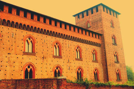 Pavia,Italy,25 october 2015.The Castello Visconteo or Visconti Castle is a castle in Pavia, Lombardy. It was built in 1360 by Galeazzo II Visconti,ruler of Milan,credited architect is Bartolino da Novara. The castle used to be the main residence of the Vi