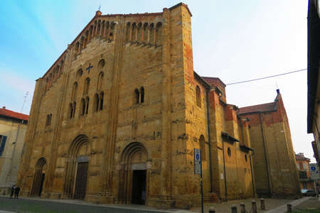 san michele: Pavia,Italy, 25 october 2015.The basilica of San Michele Maggiore is a masterpiece of Lombard Romanesque style, is located in Pavia, Lombardy.It was built between 1118 and 1130 on the foundations of an earlier basilica where were crowned the Longobards so