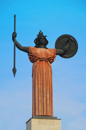 Statue of the goddess Minerva, the Roman goddess of wisdom and sponsor of arts, trade and strategy.